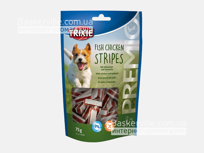 Trixie. Лакомство для собак с рыбой и курицей Premio Fish Chicken Stripes, 75г