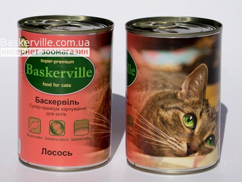 Консервированный корм для кошек. Baskerville. Лосось