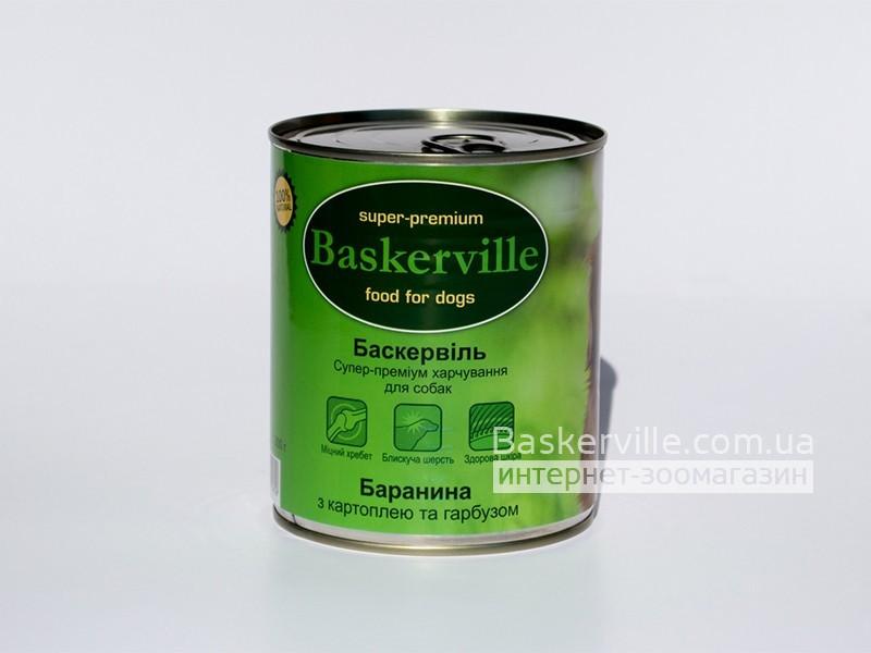 Консервированный корм для собак. Baskerville. Баранина с картошкой и тыквой