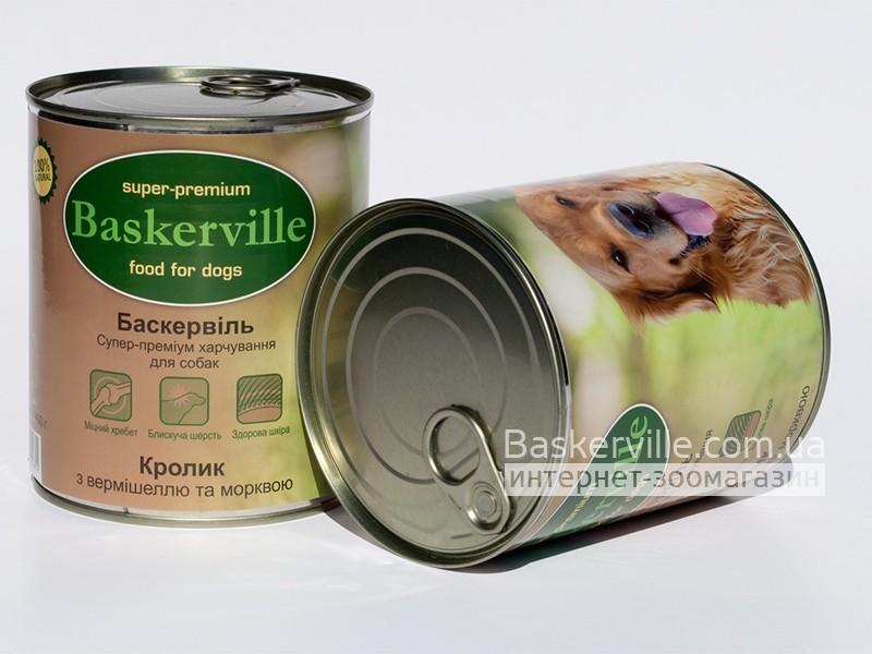 Консервированный корм для собак. Baskerville. Кролик с лапшой и морковкой