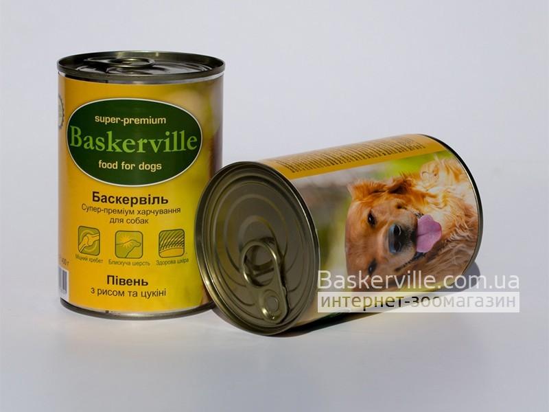 Консервированный корм для собак. Baskerville. Петух с рисом и цукини