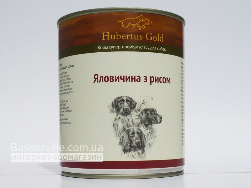 Консервированный корм для собак. Hubertus Gold. Говядина с рисом