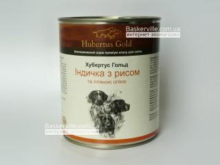Консервированный корм для собак. Hubertus Gold. Индейка с рисом и льняным маслом