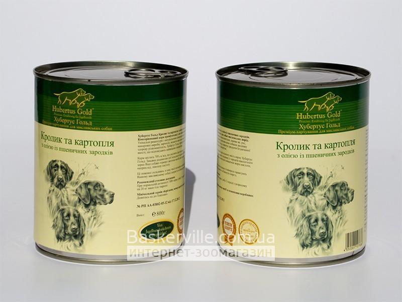 Консервированный корм для собак. Hubertus Gold. Кролик с картошкой