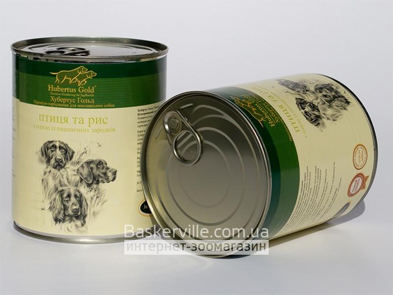 Консервированный корм для собак. Hubertus Gold. Птица и рис
